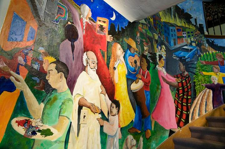 Multicultural Center mural. Photo for use on in the campus history book