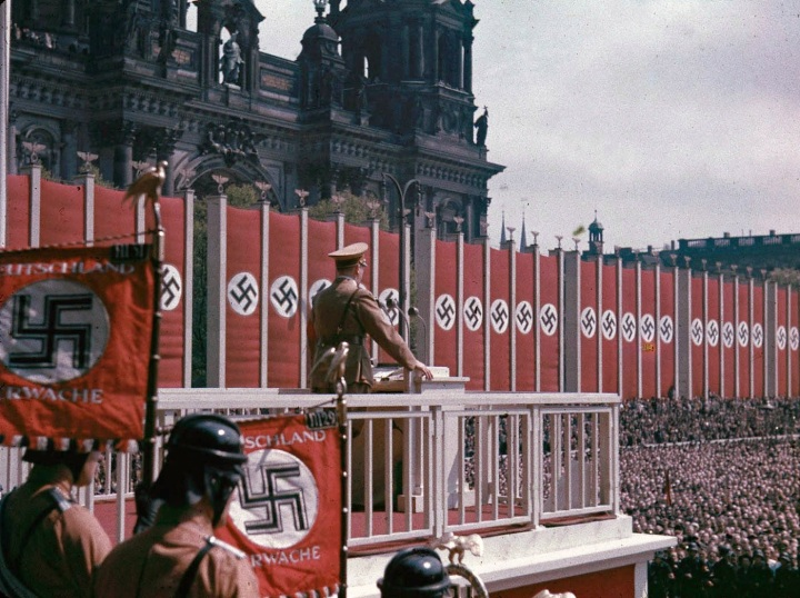 [Adolf Hitler speaking at the Lustgarten, Berlin, 1938.]