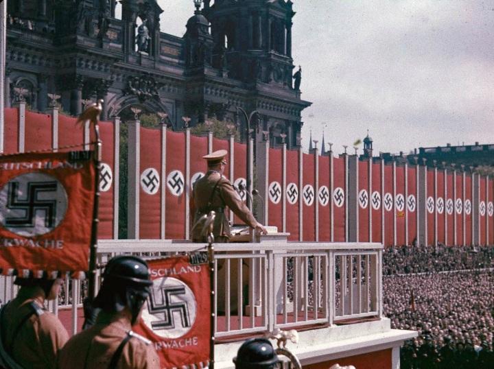 [Adolf Hitler speaking at the Lustgarten, Berlin, 1938.]