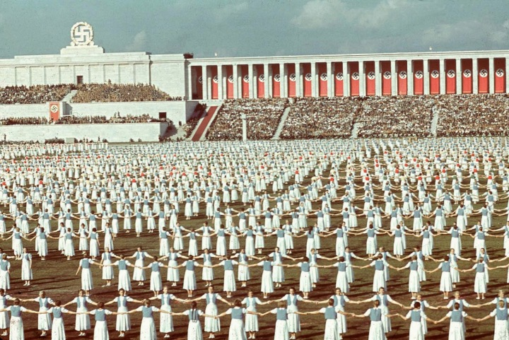 vio_League of German Girls dancing during the 1938 Reich Party Congress, Nuremberg, Germany.